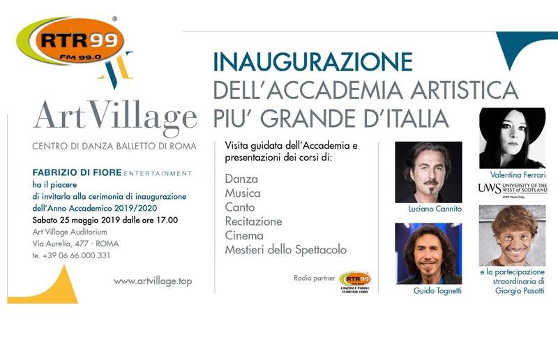 RTR 99 radio partner di Art Village ti invita all'inaugurazione
