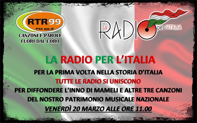 La Radio per l'Italia: per la prima volta nella storia d'Italia, tutte le radio unite